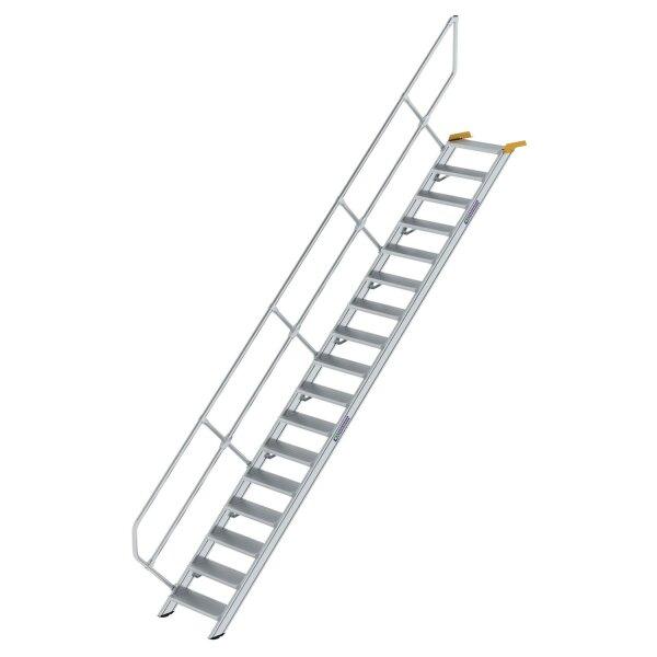 Treppe 45° Stufenbreite 600 mm 17 Stufen Aluminium geriffelt
