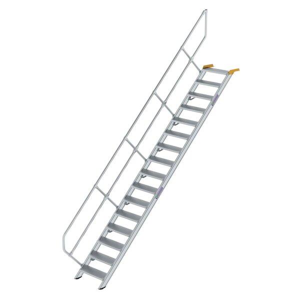 Treppe 45° Stufenbreite 600 mm 16 Stufen Aluminium geriffelt