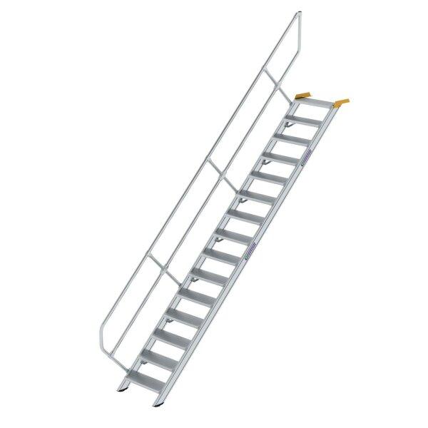 Treppe 45° Stufenbreite 600 mm 15 Stufen Aluminium geriffelt