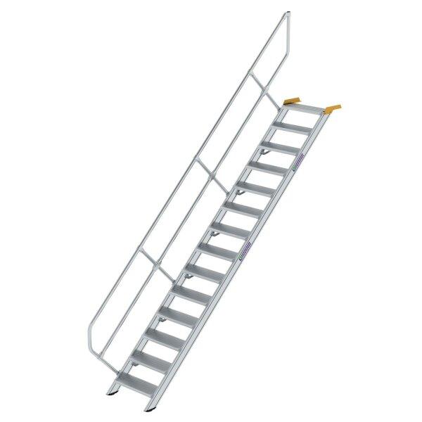 Treppe 45° Stufenbreite 600 mm 14 Stufen Aluminium geriffelt