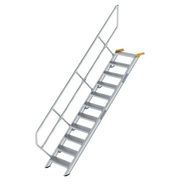 Treppe 45° Stufenbreite 600 mm 11 Stufen Aluminium geriffelt