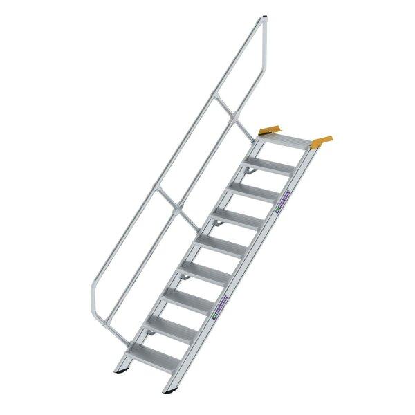Treppe 45° Stufenbreite 600 mm 9 Stufen Aluminium geriffelt