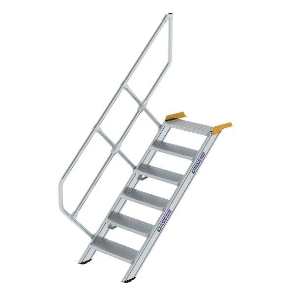 Treppe 45° Stufenbreite 600 mm 6 Stufen Aluminium geriffelt