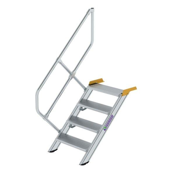 Treppe 45° Stufenbreite 600 mm 4 Stufen Aluminium geriffelt