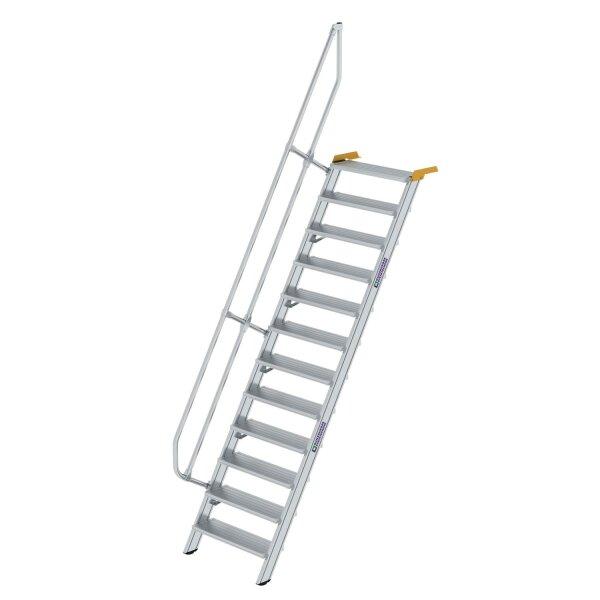 Treppe 60° Stufenbreite 800 mm 12 Stufen Aluminium geriffelt