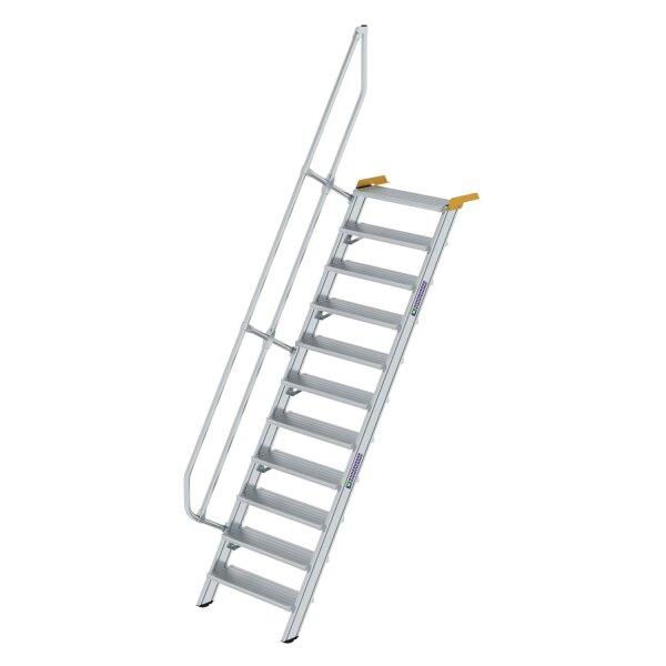 Treppe 60° Stufenbreite 800 mm 11 Stufen Aluminium geriffelt