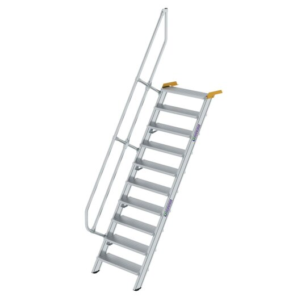 Treppe 60° Stufenbreite 800 mm 10 Stufen Aluminium geriffelt