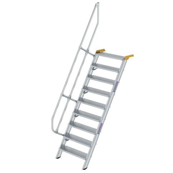 Treppe 60° Stufenbreite 800 mm 9 Stufen Aluminium geriffelt
