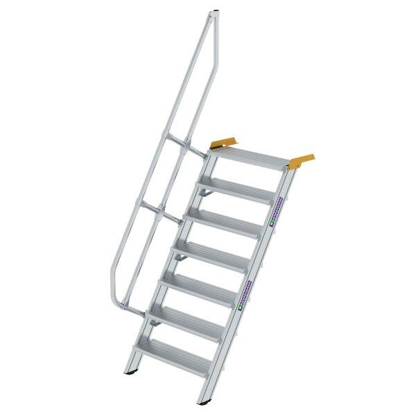 Treppe 60° Stufenbreite 800 mm 7 Stufen Aluminium geriffelt