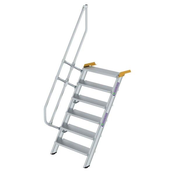 Treppe 60° Stufenbreite 800 mm 6 Stufen Aluminium geriffelt