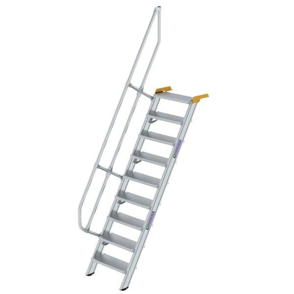Treppe 60° Stufenbreite 600 mm 9 Stufen Aluminium geriffelt