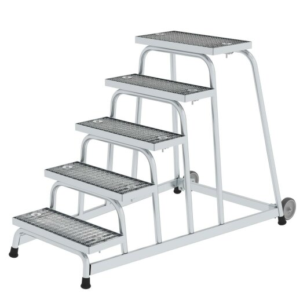 Arbeitspodest starr Stahl-Gitterrost mit Rollen 5 Stufen