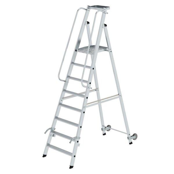 Plattformleiter mit Rollen und Griff 8 Stufen mit Ablageschale