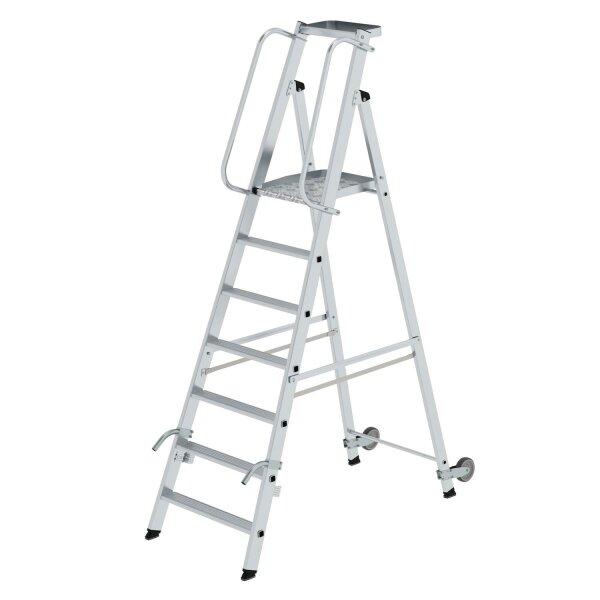 Plattformleiter mit Rollen und Griff 7 Stufen mit Ablageschale