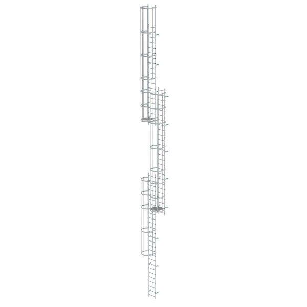 Mehrzügige Steigleiter mit Rückenschutz (Notleiter) Aluminium eloxiert 17,16m