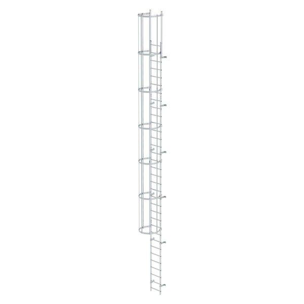Einzügige Steigleiter mit Rückenschutz (Maschinen) Aluminium blank 10,72m