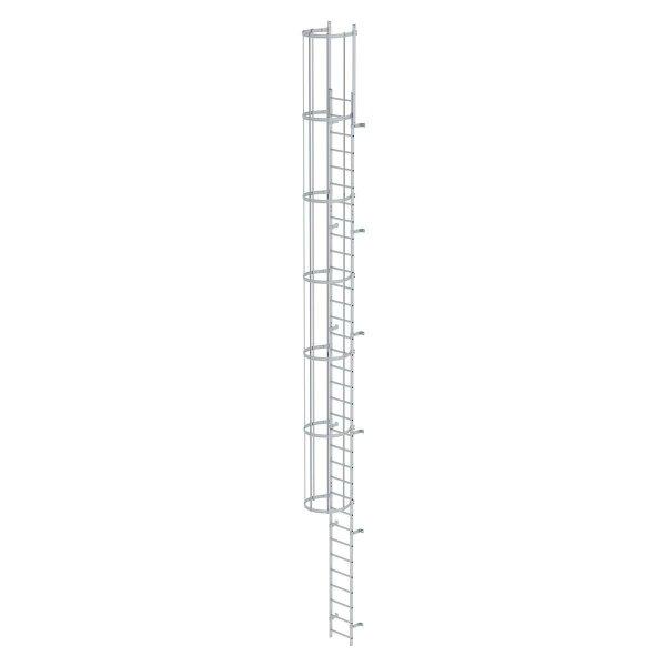 Einzügige Steigleiter mit Rückenschutz (Maschinen) Aluminium eloxiert 10,72m