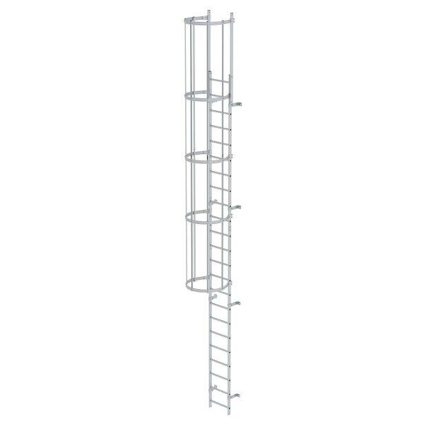 Einzügige Steigleiter mit Rückenschutz (Maschinen) Aluminium eloxiert 7,64m