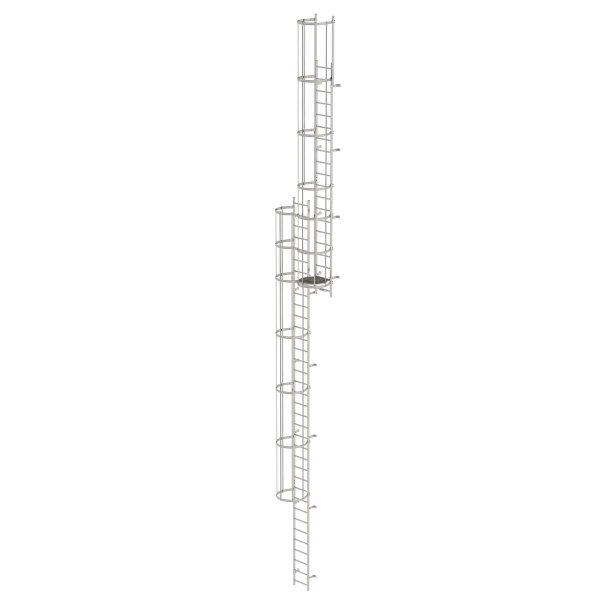 Mehrzügige Steigleiter mit Rückenschutz (Bau) Edelstahl 14,64m