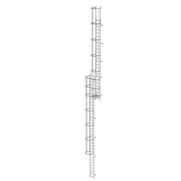 Mehrzügige Steigleiter mit Rückenschutz (Bau) Stahl verzinkt 16,32m