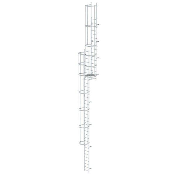 Mehrzügige Steigleiter mit Rückenschutz (Bau) Aluminium blank 13,80m