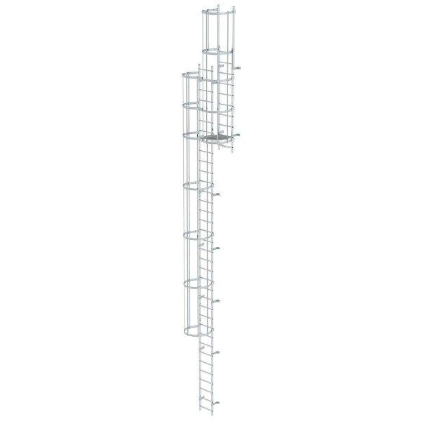 Mehrzügige Steigleiter mit Rückenschutz (Bau) Aluminium eloxiert 19,12m